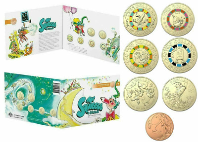 2019 $2, $1 & 1 Cent - Mr Sqiggle & Friends Coin Collection - 7 Coins In Folder