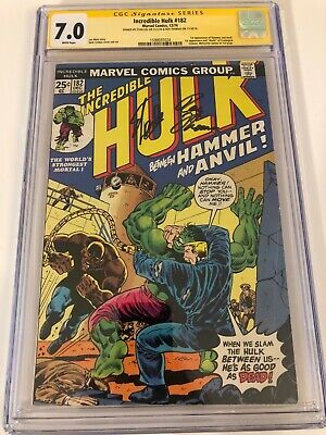 Hulk #182 CGC 7.0 SS Signed by STAN LEE and Roy Thomas