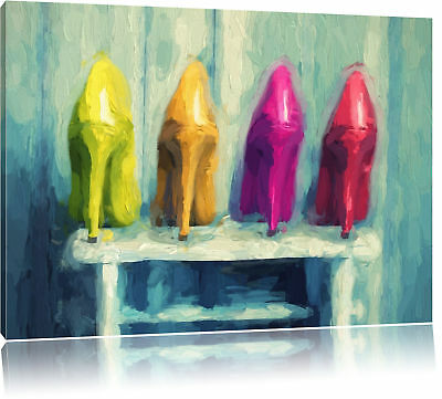High Heels on Stool Canvas Picture Wall Deco