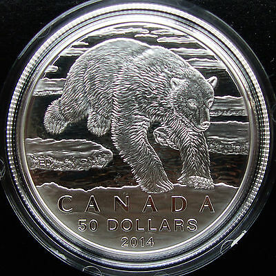 **NEW 2014 INVESTMENT** Canada Fine Silver $50 Coin - Polar Bear