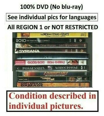 100% DVD SELECTION - REGION 1 (Canada-USA) or Not Restricted ALL SOLD SEPARATELY