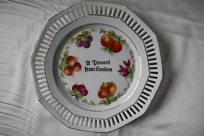 Vintage  1950s England Porcelain Plate with Hollow Edge A Present From London