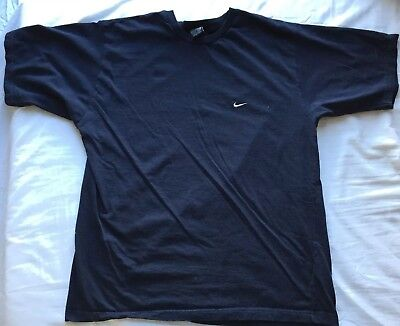 48a3085a Vintage Nike Men Short Sleeve T-Shirt Embroidered Swoosh Logo Navy Blue  Size XL