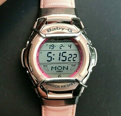 CASIO G-MS Baby-G MSG-135 (2488) Silver & Pink Ladies Digital - New Battery