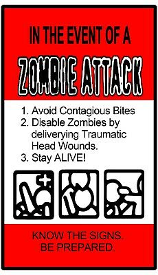 zombie attack sign sticker spoof funny comedic apocalyptic laptop tool box 4 x 6