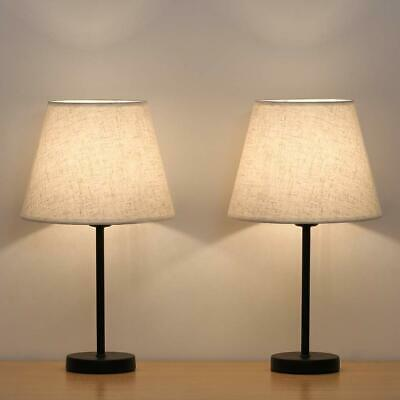 Set Of 2 Modern Table Reading Lamp Desk Light Black Bedside With Fabric Shade