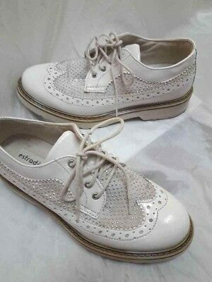 Scarpe Donna Francesine Bianche con lacci Strass Brillantini 36 Shoes MADE  ITA 9c4abfd95e4