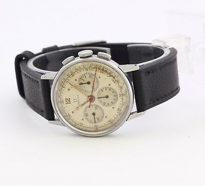 RARE 1940's Omega steel men's Swiss made chronograph wristwatch Cal. 27, 17J