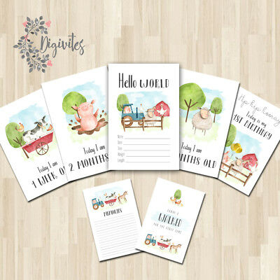 UNISEX Farm themed Baby Milestone cards, Baby Photo props, Baby Keepsakes