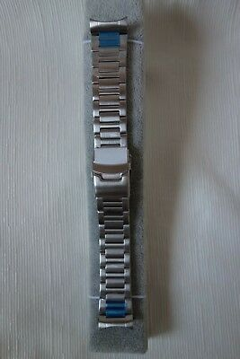 22mm Heavy Duty Stainless Steel Watch Band with Curved Ends - Bi-Fold Clasp