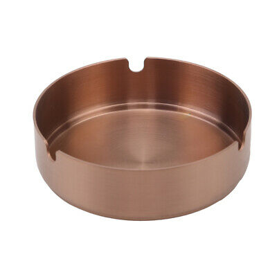 Rose Gold Stainless Steel Round Metal Cigar Ashtray Cigarette Ash Holder Case BS