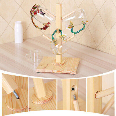 Retro Rustic Wooden Timber Wine Rack Bottle Storage Display Glass Cup Holder BS