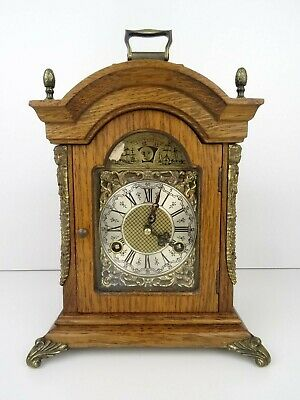 Dutch Vintage Antique Mantel clock Shelf MOONPHASE 8 day (Warmink Hermle era)