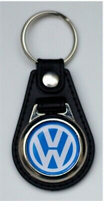 Volkswagen Black Leather Style Keyring with VW Logo (1045)