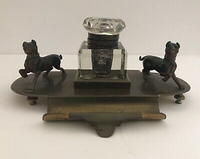 Antique Brass Inkwell Crystal Glass