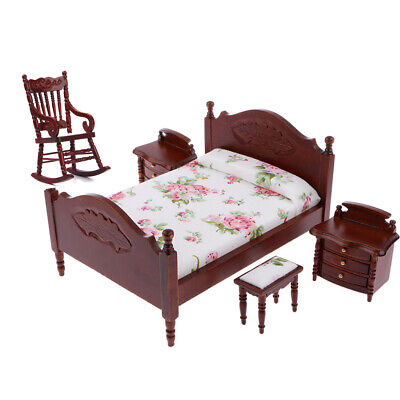 MagiDeal 1/12 Dollhouse Furniture Bedroom Bed Cabinet Rocking Chair Set 5pcs