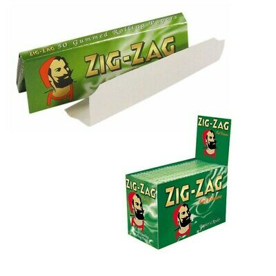 Full Box of 100 Booklets Zig Zag Tobacco Rolling Papers Green Cut Corner.