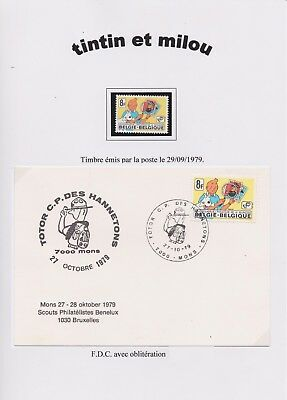 """RARE - timbre Tintin - philatelie - FDC """"50 ans"""" totor CP Hannetons Mons - 1979"""