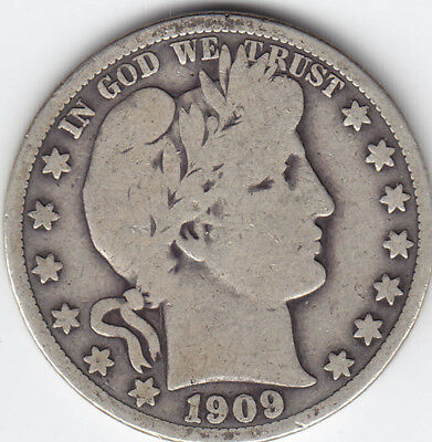 1909 United States of America (USA) Silver 50-Cent Half Dollar Coin - V G 10