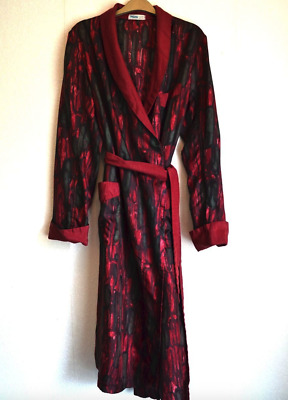1950's Vintage Tricel Robe / Dressing Gown -  Red & Green Abstract Pattern