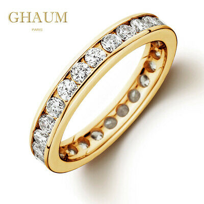 magasin en ligne bff8b c22d2 BAGUE ALLIANCE COURONNE PLAQUE OR JAUNE FEMME SERTIE DIAMANTS EN OXYDES + 1  Ct