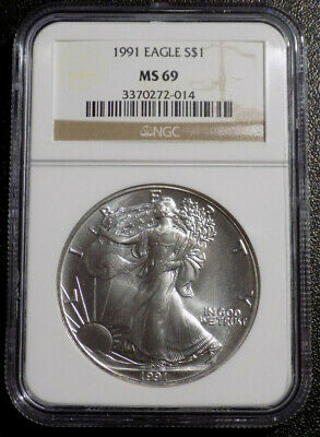 1991 $1 American Eagle 1 oz .999 Fine Silver coin NGC MS 69