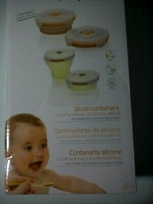 4-Pk Home Kitchen Baby Food Storage Silicone Microwavable Containers w/ Lid