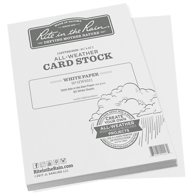 "Rite in the Rain HW8511 All-Weather 100# Card Stock, 8.5"" x 11"" - 80 Sheets"