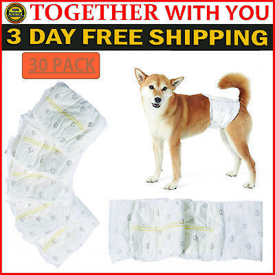 Disposable Dog Diapers 30 Pack Male Waist Wraps Absorbent Belly Bands XS S M L