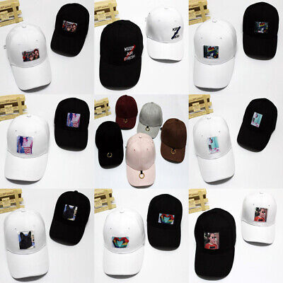 New Kpop Curved Strapback Snapback Baseball Cap Ring Embroidery Letter Sport Hat