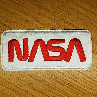 NASA white embroidered Patch 4 inches long