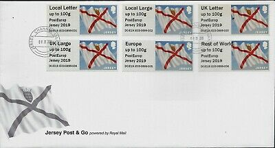 Post & Go Fdc 2019 Jersey Guernsey Stampex Primates Cars Je01 02 03 Gg01 02 03