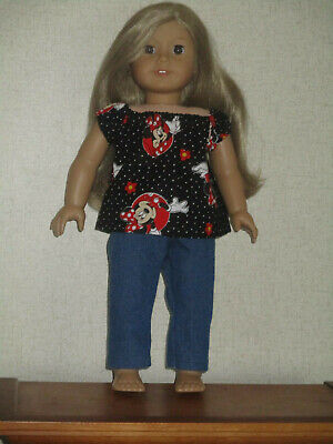 """HANDMADE DOLL CLOTHES FITS 18"""" AMERICAN GIRL -Blue Jeans & Minnie Mouse Top"""