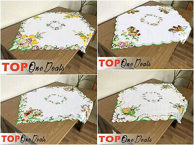 Embroidered Easter Tablecloth Table Runner Square 85 x 85cm Chick Egg Rabbit