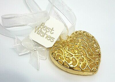 Stunning Gold Heart Bridal / Wedding / Good Luck  charm / Gift / Keepsake