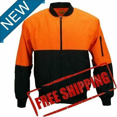 Hi-Vis Mens Safety Work Wear Orange Water Proof Bomber Quilted Warm Jacket PPE-