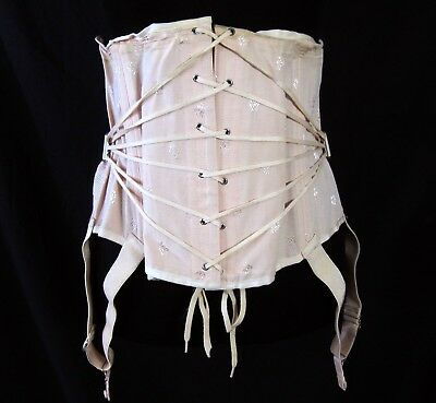 Truform Vintage 1920s Pink Corset Attached Garters Size 43 Lace Up Waist Trainer