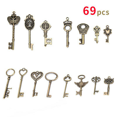 69Pcs/set  Antique Vintage Old Look Bronze Skeleton Keys Fancy Heart Bow Pendant