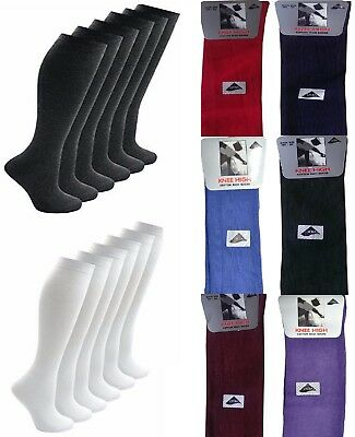 Girls Women Kids Back To School Plain Knee High Long Socks 80% Cotton 8 Colours