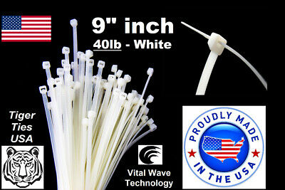 "100 White 9"" inch Wire Cable Zip Ties Nylon Tie Wraps 40lb USA Made Tiger Ties"