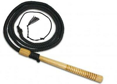 10 Ft Professional Braided Nylon Bull Whip With Wooden Handle! NEW HORSE TACK!
