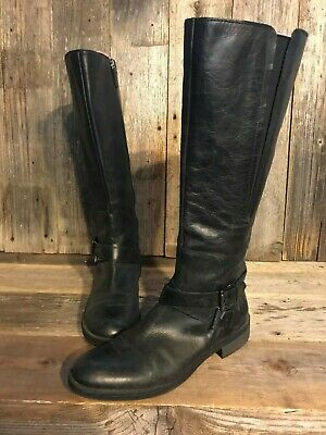 72d16b07ac7e Women s ENZO ANGIOLINI Black Leather Knee High Boots Low Heel Wide Calf  Size 11