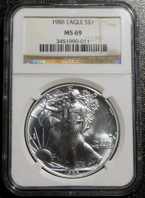 1988 $1 American Eagle 1 oz .999 Fine Silver coin NGC MS 69 brown/hologram label