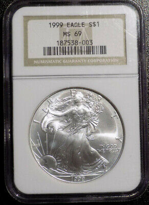 1999 $1 American Eagle 1 oz .999 Fine Silver coin NGC MS 69 older holder
