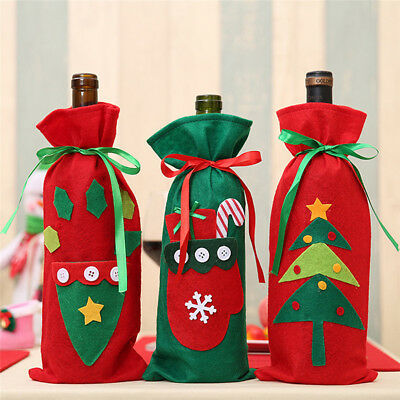 Christmas Decoration Red Wine Cover Bottle Bags Santa Tree SnowTable Decor HOT