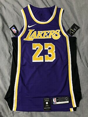 new style dea6a 9a1e2 NIKE LEBRON JAMES Authentic Statement Jersey LA Lakers 44 M Away
