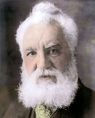 """ALEXANDER GRAHAM BELL TELEPHONE INVENTOR  8x10"""" HAND COLOR TINTED PHOTOGRAPH"""