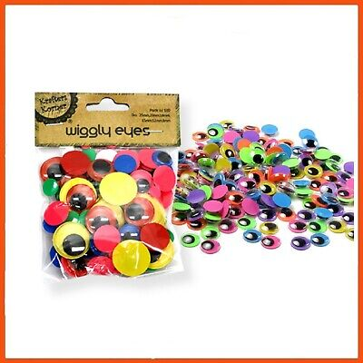 12 x 100 PACK OF WIGGLY EYES | Assorted Colours & Shapes Kids Craft Googly Eyes