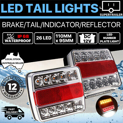 2x Trailer lights LED TAIL LAMP STOP INDICATOR 12V VOLT 4WD 4X4 CAMPER UTE IP68