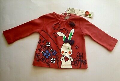BNWT BOBOLI Newborn Baby Red Long Sleeve Top With Rabbit Flower Bow Picture